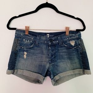 7 For All Mankind Denim Shorts With Studs